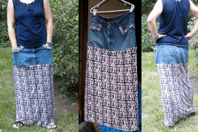 Bohemian style ankle length skirt using jeans for the waistband.