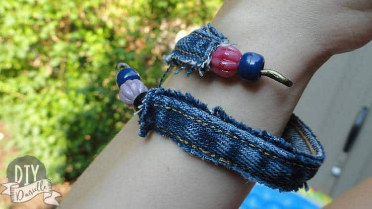 Easy denim bracelet made from upcycled materials that you can find around your house!