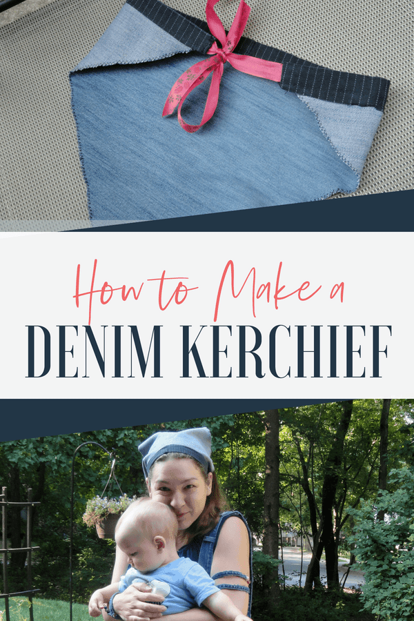 How to make a denim kerchief with upcycled pants. Such an easy project!