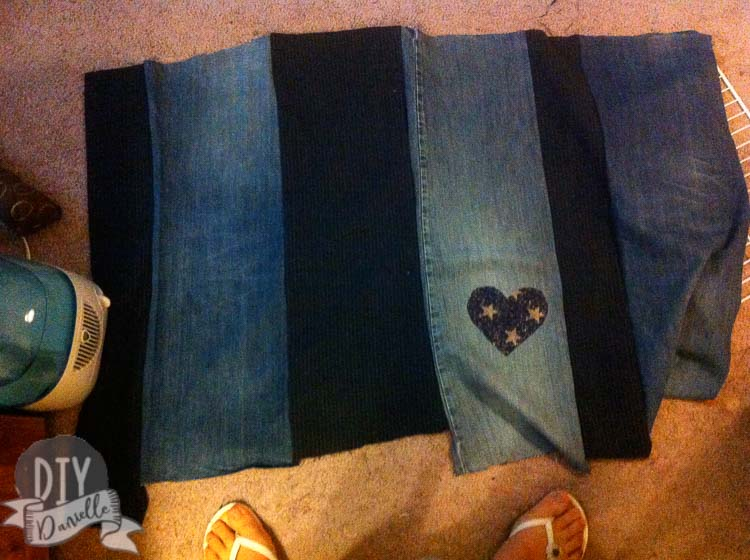 The fabric strips sewn together. Coordinating jeans and dress pant fabric.