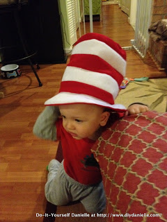 1 year old modeling the Dr. Seuss themed hat