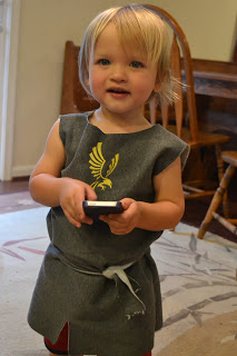 DIY Knight's Tunic for a toddler's costume.