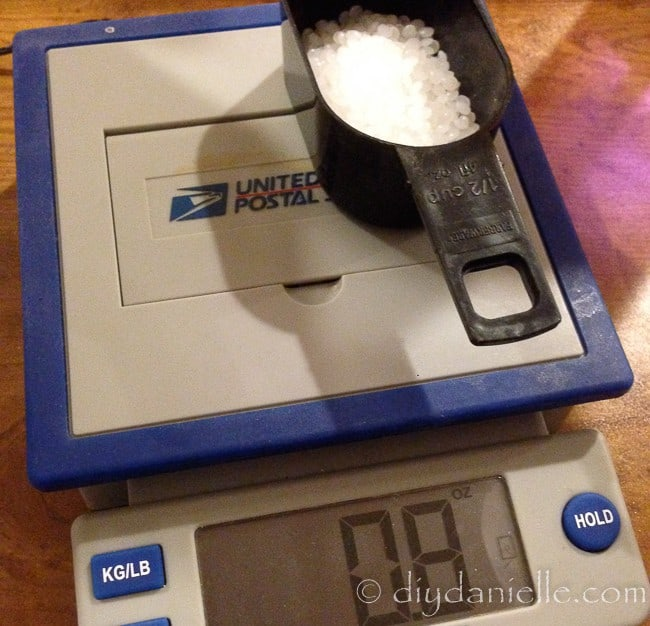 Weighing poly pellets on a small scale.