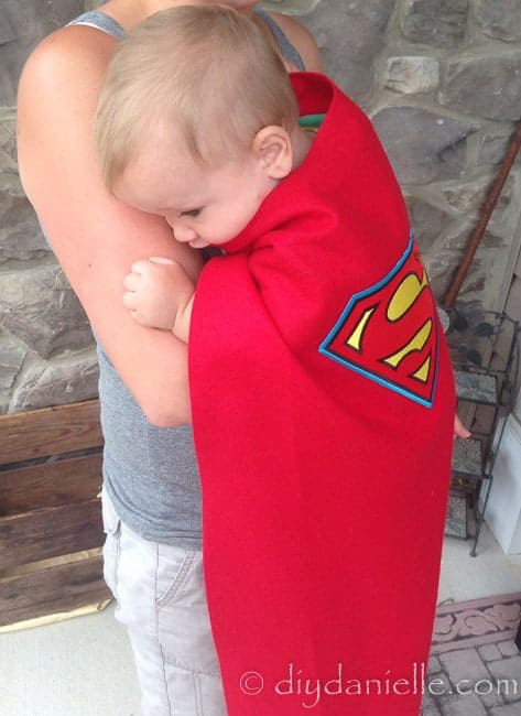 Easy no sew Superman cape. How to make a superhero cape without sewing.