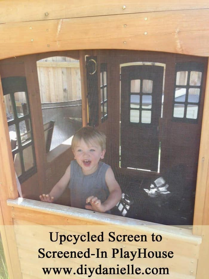 How I upcycled old screening to screen-in my son's playhouse.