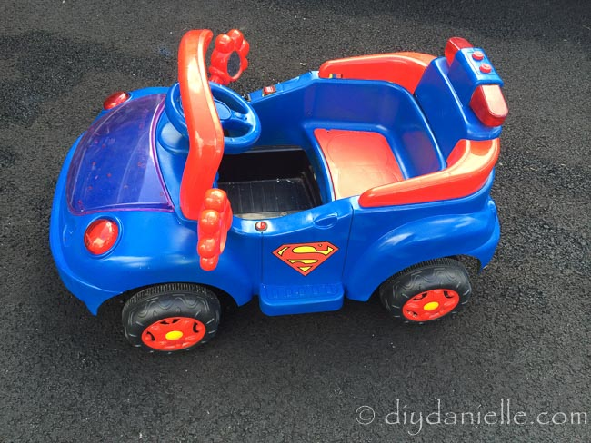 Superhero Car Diy Superman Ride On With Red And Blue Spray Paint