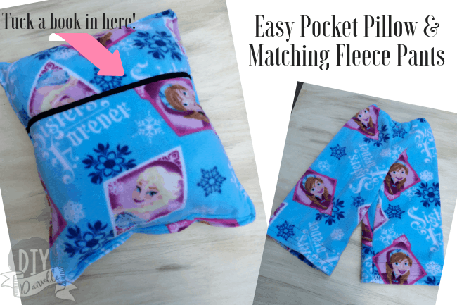 This matching pocket pillow and fleece pants make a perfect gift for a toddler or young child. Slip a book inside for an easy Christmas Eve gift.