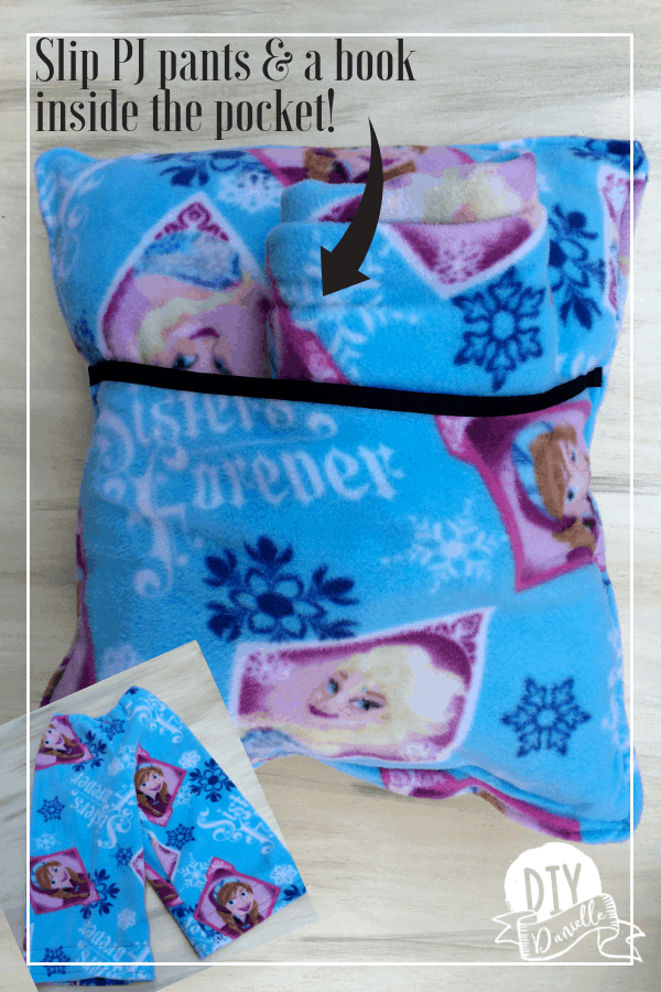 Tuck a book and a pair of matching PJ pants into this super cute fleece pocket pillow!