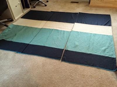 Roman Shades: Multiple Color Panels, 3 Roman Shades