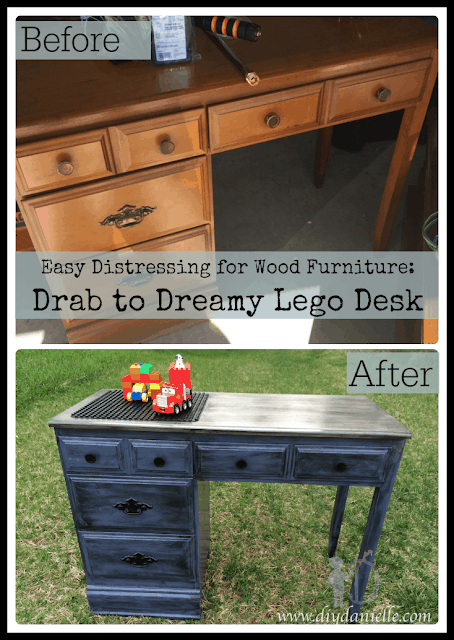 Before vs. After DIY Lego Desk: How I distressed an old desk for my son's room.