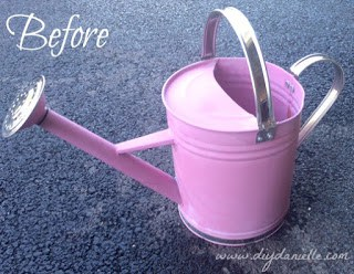 How to upcycle a watering can into 4th of July decorations for the porch.