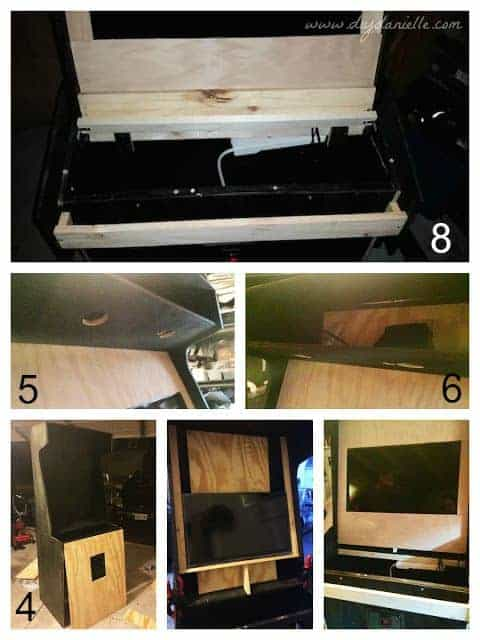 Building the arcade cabinet from an old kitchen cabinet.