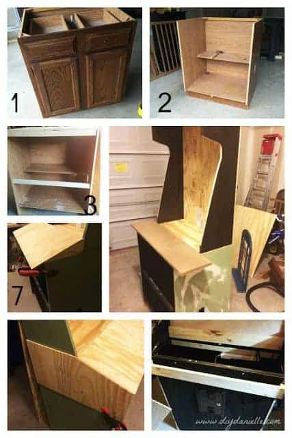 Old kitchen cabinet being upcycled into an arcade machine.