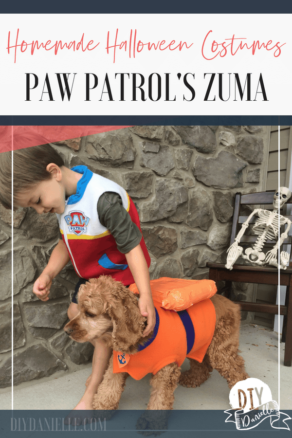 Learn how to make this awesome Zuma costume for your pup! This Paw Patrol dog costume is perfect for a family costume!