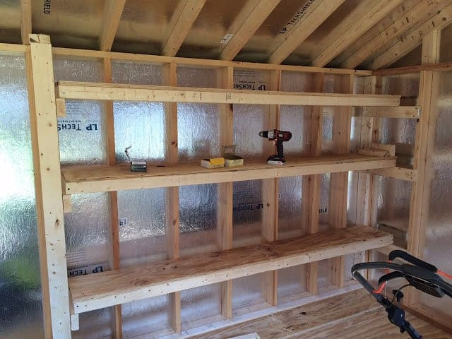 How to build shed shelving. #woodworking #storage #organization