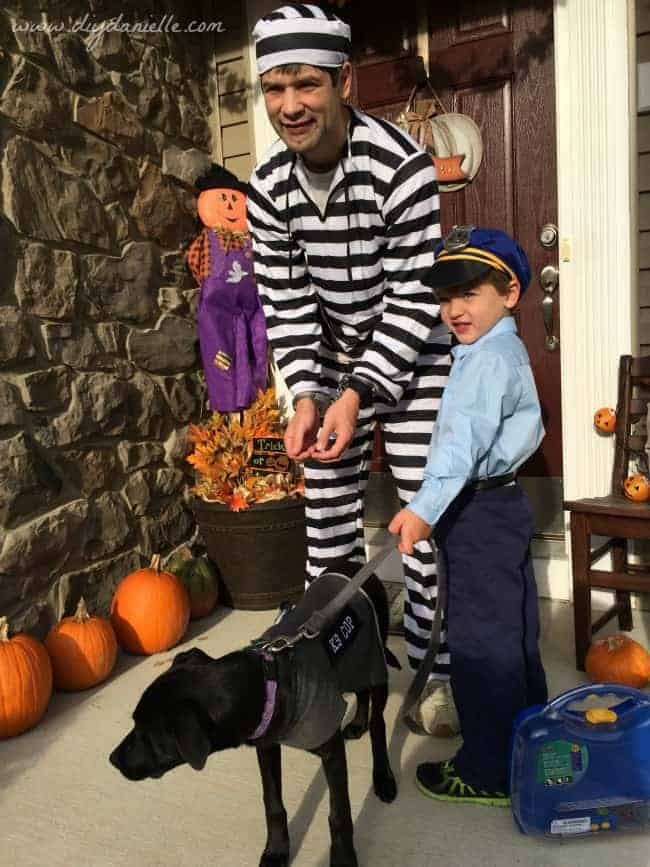 Police themed family Halloween costume.