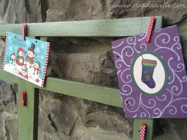 Holiday card display DIY using clothespins.