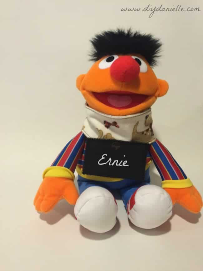 Ernie modeling the DIY pretend play dog collar.