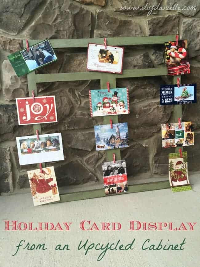 holiday card display cabinet upcycle