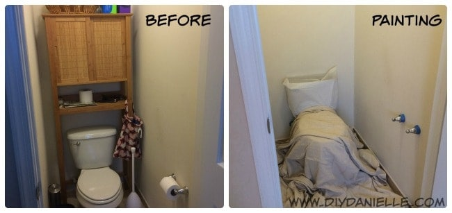 Before pictures of our tiny toilet room.
