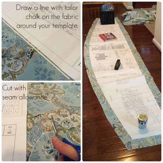 How to make a pattern for a fitted tablecloth and cut it out.