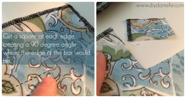How to make the edges for a fitted bar tablecloth.