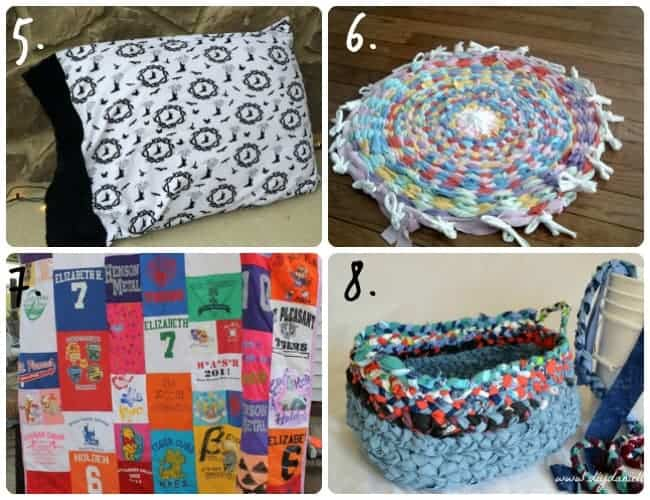 Home decor ideas made with knit fabric.