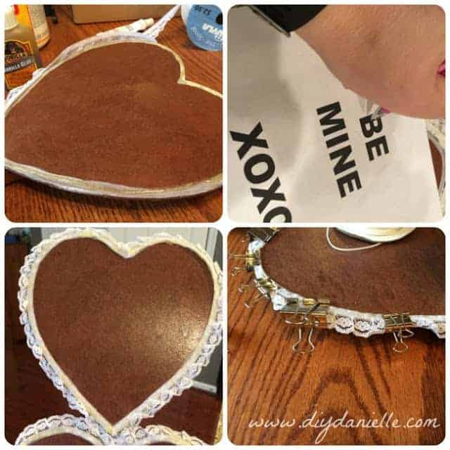 Instructions for adding lace to the door decor.