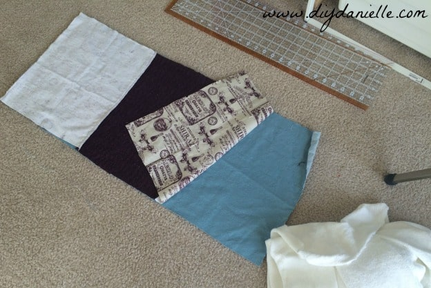 Fabric all cut to the same size.