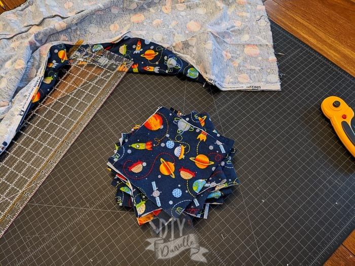 two squares of flannel ready to sew