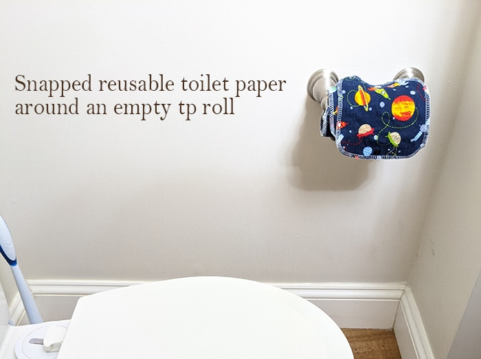 Family cloth rolled around an empty toilet paper roll.