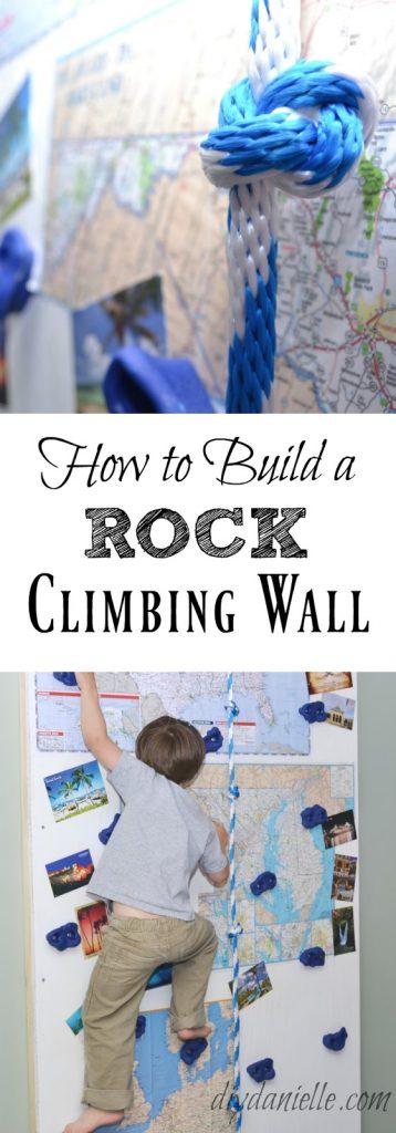 DIY Rock Climbing Wall in Basement Playroom