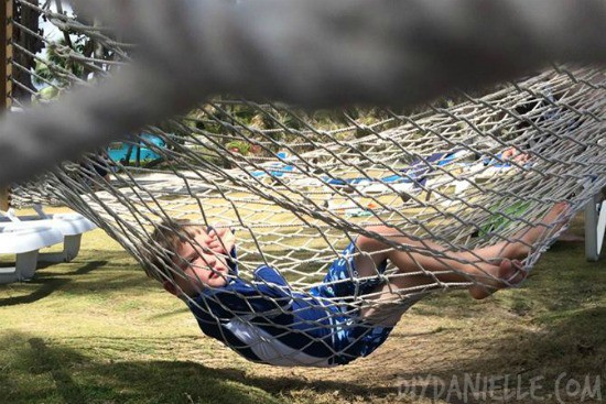 Shaded hammocks at Coconut Bay
