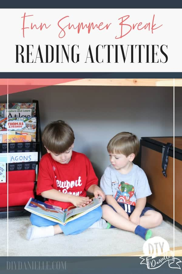 Summer reading activities to keep your kids from experiencing the summer slide. Older boy reading to younger boy.