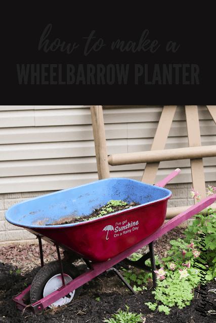 Easy wheelbarrow planter DIY.