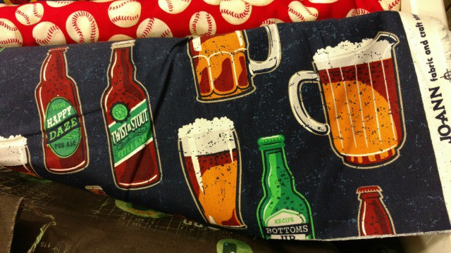 A 4 year old's idea of fun soda fabric for his lunch bag.