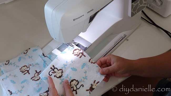 Sewing cloth wipe with a sewing machine.