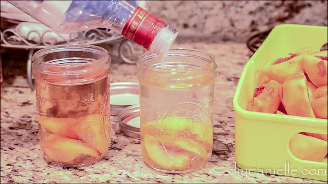 Adding liquor to make fruit flavored liquors.