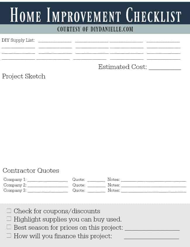 Free printable: Home Improvement Planning Checklist