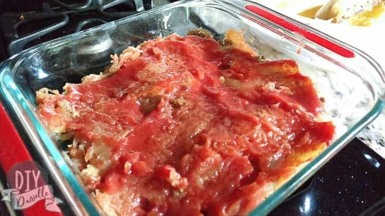 Meat sauce on casserole.