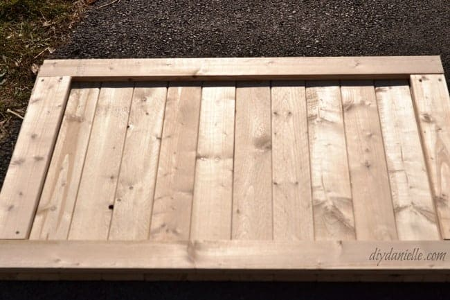 Nearly completed dog gate. It would function fine as is.