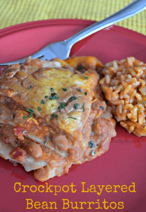 Crockpot Layered Bean Burritos