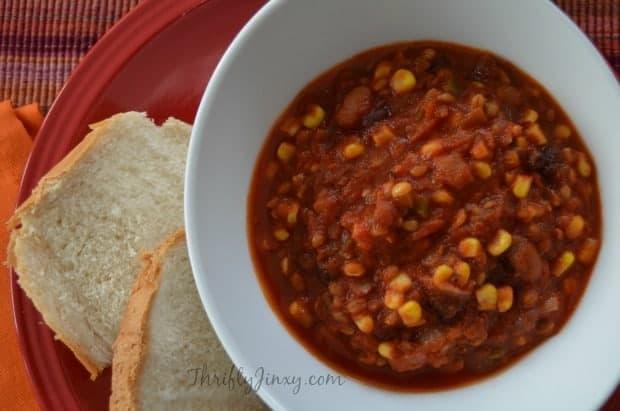 Vegetarian Crockpot Chili with Bulgur Wheat