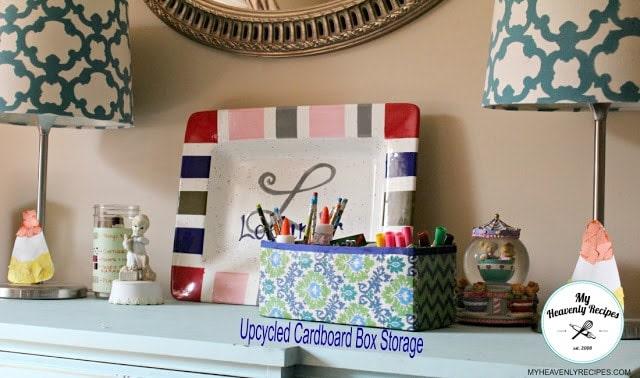 Cardboard box decorated for storage bin