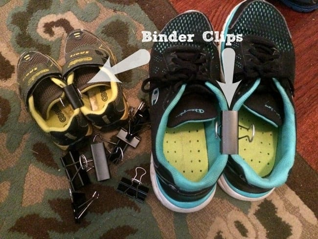 Binder clips for shoes