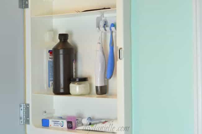 Medicine cabinet in child's bathroom.