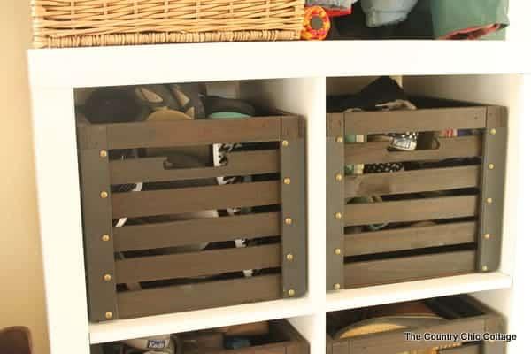 Mudroom shelves.