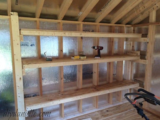 Shed or garage shelves