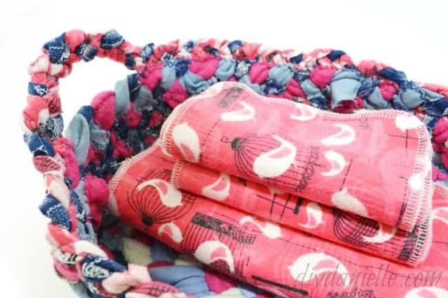 These scrap baskets are easy to make from upcycled clothing.