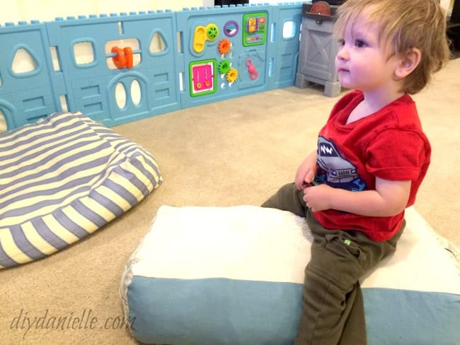 DIY Yoga Bolster, stuffed with clean upcycled clothing.